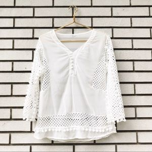 Sheer V-Neck White Blouse With Cut Out Pom Detail